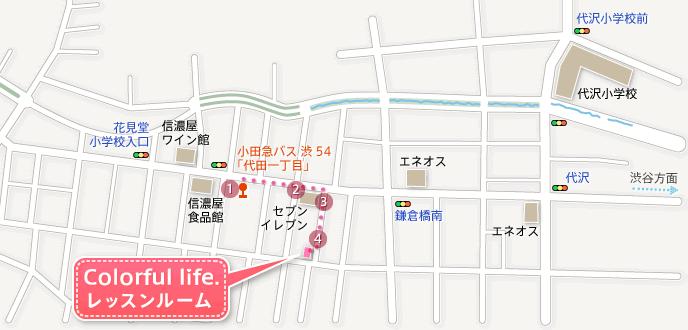 地図:「代田一丁目」バス停からのルート