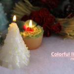 ホワイトクリスマスツリーキャンドル