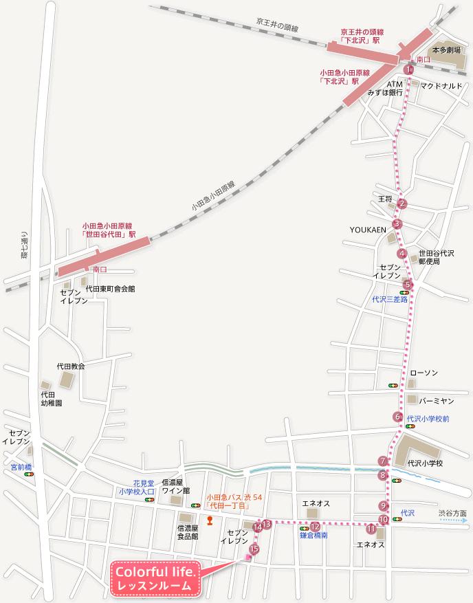 地図:下北沢からのルート