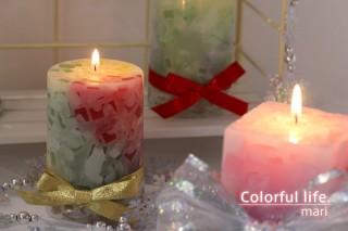 モザイクスクリューキャンドルクリスマス色