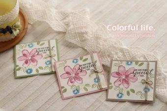 【2ステップ・スタンピング】ガーデン・イン・ブルームの小さめカード