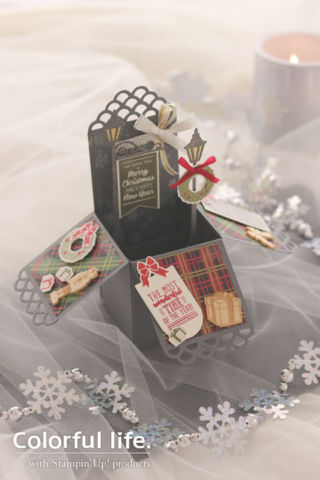 クリスマスタウンのボックス型カード(縦)