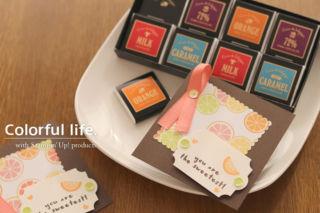 フルーツ柄のミニカード(オレンジ・横)