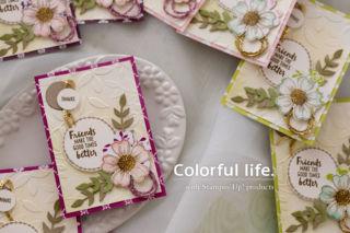 スタンプが輪をつなぐお花のカード(横)