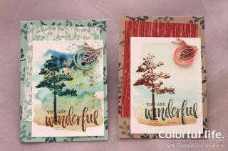 樹木のナチュラルカード(粉インク有無比較)