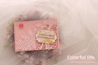【ダイカット】薔薇のモチーフを重ねたカード