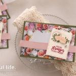 【ダイカット(ハサミ代用可)】お花ペーパーにタグを飾ったカード