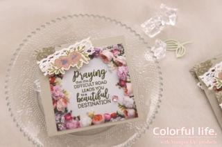 お花の写真ペーパーで、かんたんミニカード(横-ペタルプロムナード)