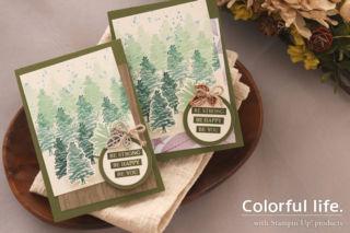 緑濃い森林のカード(横- ルーテッド・イン・ネイチャー)