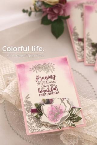 モーブ系で大人っぽいお花のカード(縦-ペタルプロムナード)