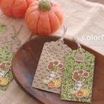 【ダイカット・スタンピンブレンズ】秋色ひまわりとカボチャの小さな色塗りタグ