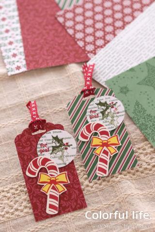 パンチで作れるクリスマスキャンディのタグ(縦-キャンディ・ケーン・シーズン)