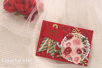 【ダイカット・ヒートエンボス】ローズブーケのクリスマスカード