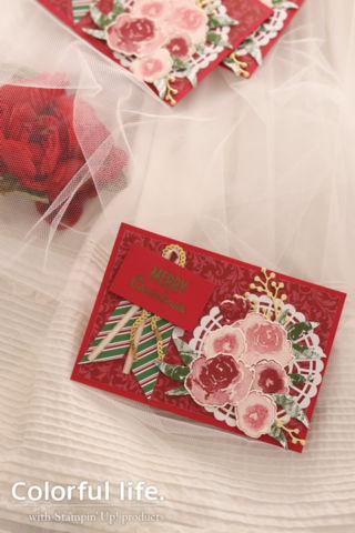ローズブーケのクリスマスカード(縦-ファーストフロスト)