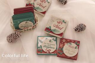 大人っぽいクリスマスカラーのミニミニカード(横-ピースフル・ノエル)