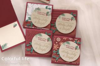 大人っぽいクリスマスカラーのミニミニカード(赤-ピースフル・ノエル)