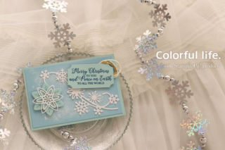 スノーフラワーのクリスマスカード(横-スノー・イズ・グリスニング)