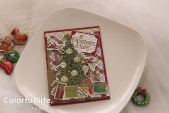 【参考作品】クリスマスツリーの両面あきカード