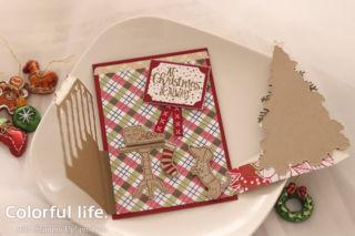 クリスマスツリーの両面あきカード中2(横- レディー・フォー・クリスマス)