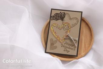 【カンタン・ダイカット】ハートモチーフのチョコ風バレンタインカード