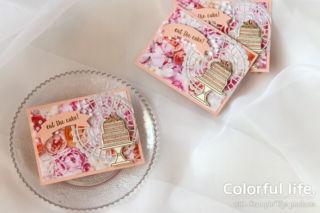 ローズいっぱい、ケーキのカード(横:ピース・オブ・ケーキ)