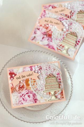 ローズいっぱい、ケーキのカード(縦:ピース・オブ・ケーキ)