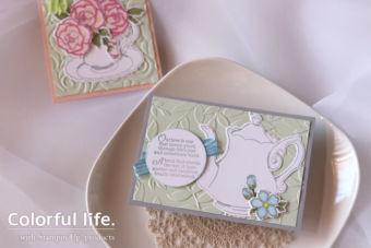 【ダイカット・エンボスフォルダー・ブレンズ】ちょびっと色塗り、ティーポットのカード