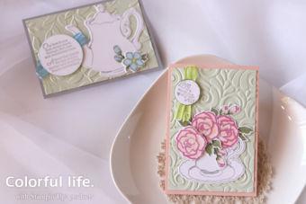 【ダイカット・エンボスフォルダー・ブレンズ】ティーカップと薔薇のカード