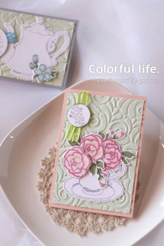 ティーカップと薔薇のカード(縦:ティー・トゥゲザー)