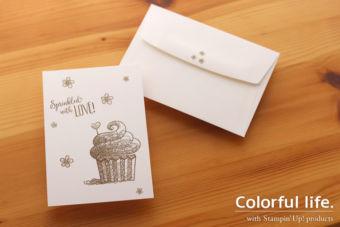【超カンタン・スタンプのみ】はじめてさんもラクラク、カップケーキのシンプルカード