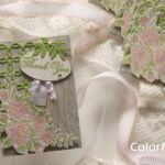 【ダイカット&色塗り】ガーデンローズのシャビーなカード