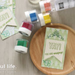 【カンタン・ヒートエンボス】グリーンいっぱい、お祝いのスマートカード