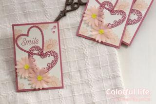 ピンクデイジーのガーリーなカード(横:デイジーレーン)