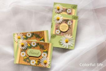 【カンタン・ダイカット不要】人気のホワイトデイジーカードを押し花柄のペーパーで2種♪