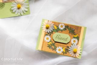 ちびデイジーの押し花柄カード(横:デイジーレーン)