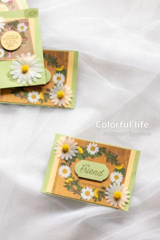 ちびデイジーの押し花柄カード(縦:デイジーレーン)