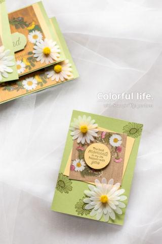 ダブルフラワーデイジーの押し花柄カード(縦:デイジーレーン)