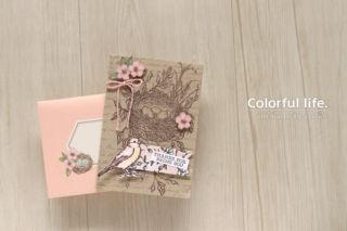 ハグ・フロム・シェリのアレンジカード/ピンク(横:バードバラード))
