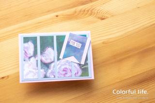 シンプルスタンピング・薔薇もようのペーパーを使ったカード(2019年7月/ウエルセッド)