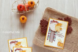 秋色カエデとカボチャのカード(横:ギャザー・トゥゲザー)