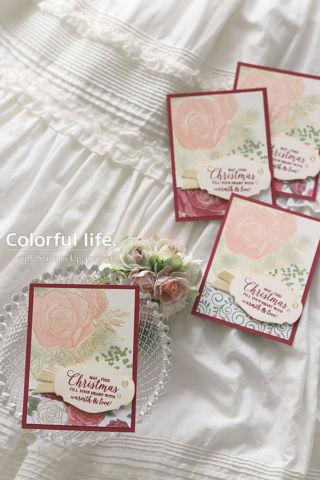 ゴージャスな薔薇のミニカード(縦:クリスマスタイム・イズ・ヒア)