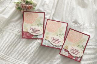 ゴージャスな薔薇のミニカード(ペーパー違い:クリスマスタイム・イズ・ヒア)
