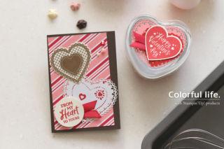 バレンタインのカード&ラッピングセット(横:ハートフェルト)