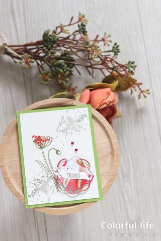 シンプルな手描き風、ポピーのカード(縦:ペインテッドポピー)