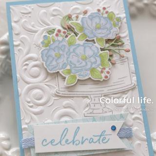 お花を飾って♪お祝いケーキのカード/アップ(1:1 ハッピーバースディ・トゥーユー)