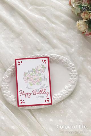 お誕生日のケーキカード(縦:ハッピーバースディ・トゥーユー)