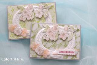 ホワイトフレームと桜のカード(アップ:フォーエバー・ブロッサム)