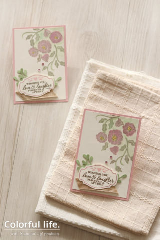 絵の具で絵手紙風に、お花のシンプルカード(縦:ハート・トゥ・ハート))