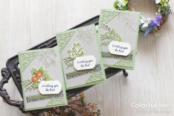 【ダイカット・色塗り】上級者さん向けのキットに少し手をかけて♪ボタニカルなガーデンカード2