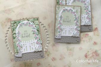 【ダイカット・色塗り】憧れのローズゲートをカードで♪
